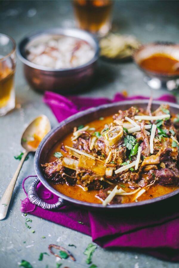 Nihari recipe serving with raita
